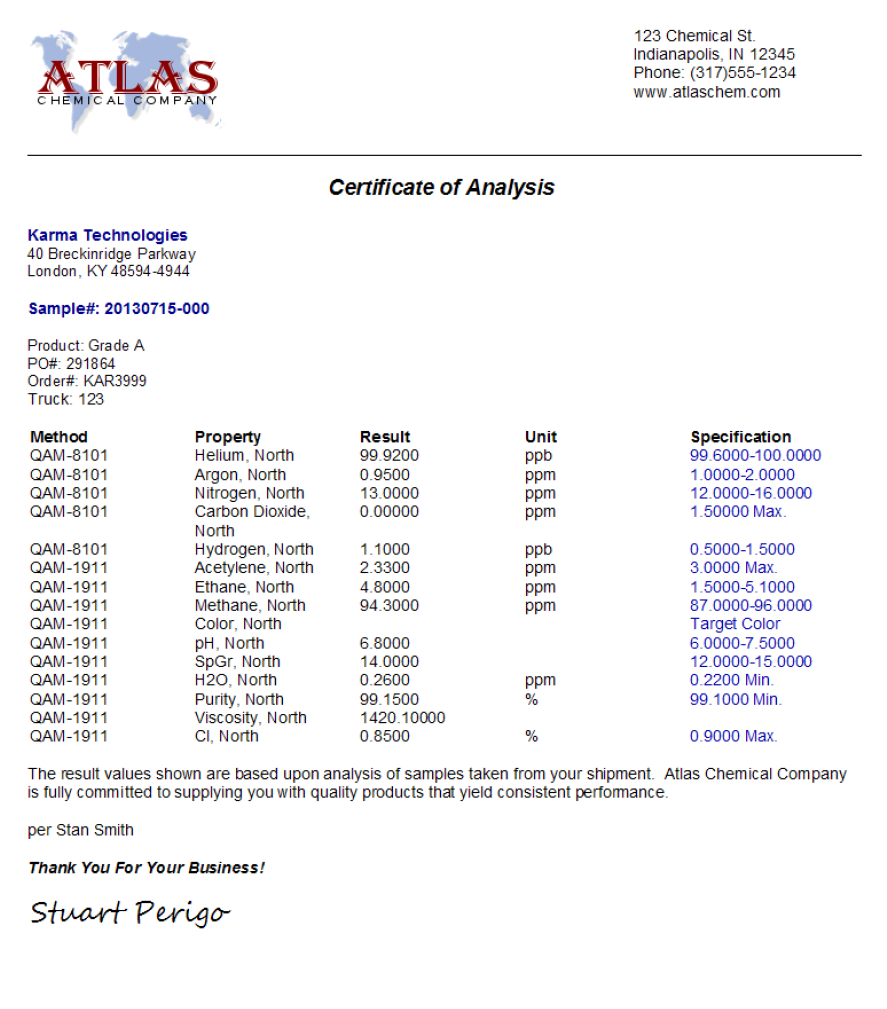 Certificates of Analysis COA Management LabSoft LIMS – Certificate of Analysis Template