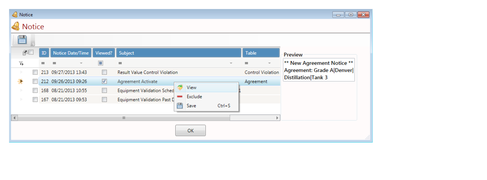 LabSoft LIMS Software Notices Screenshot